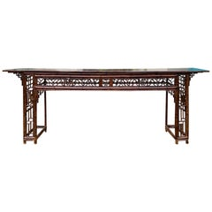 Late 19th Century circa 1880 Chinese Bamboo Altar Table / Long Console