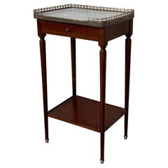 Late 19th Century circa 1890 French Walnut Marble Top Bouillote NIghtstand