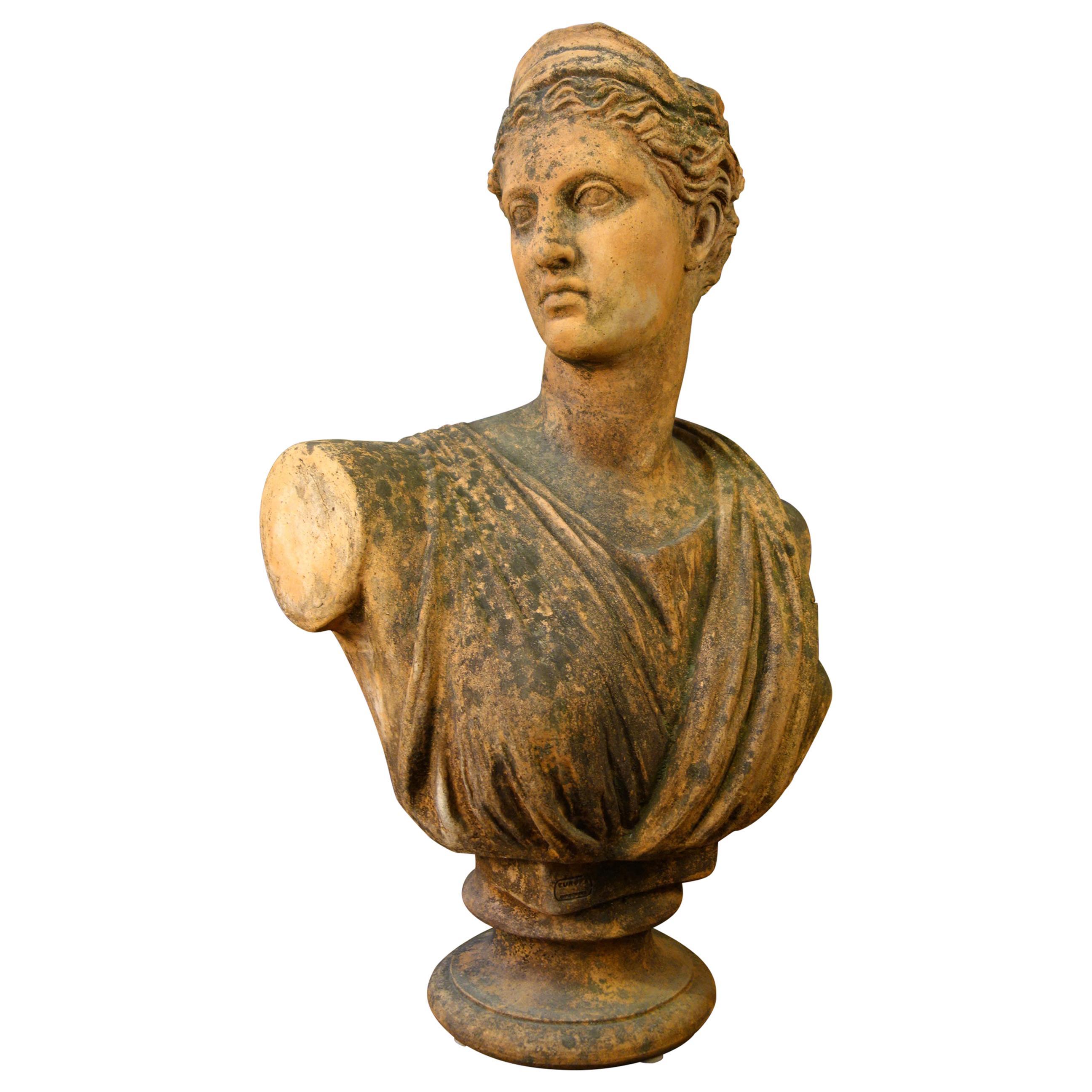 Late 19th Century Classical Roman Style Old Impruneta Terracotta Bust of Diana