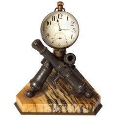 Late 19th Century Clock by W.C. Ball, Mounted on Bronze Cannons with Marble Base