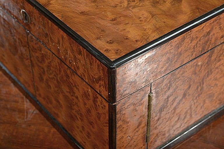 English Late 19th Century Compendium in a Burr Yew Wood & Coromandel Box Cabinet For Sale