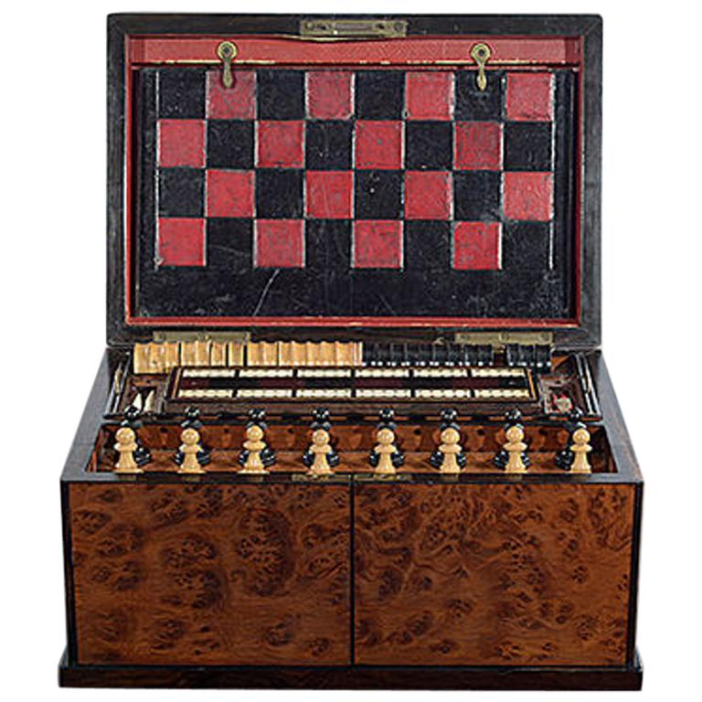 Late 19th Century Compendium in a Burr Yew Wood & Coromandel Box Cabinet For Sale