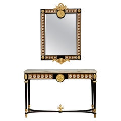 Late 19th Century Console Table and Mirror in Louis XVI Style