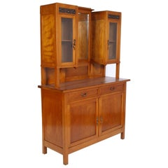 Late 19th Century Country Art Nouveau Credenza with Display Cabinet Cherrywood