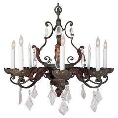 Late 19th Century Country French Wrought Iron and Rock Crystal Chandelier