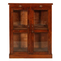 Late 19th Century Country Glazed Cabinet with Secret on Top Walnut Wax-Polished