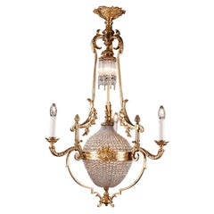 Late 19th Century Crystal Basket-Shaped Chandelier