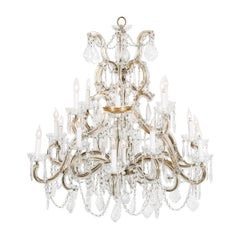 Late 19th Century Cut Crystal 18-Light Hanging Chandelier