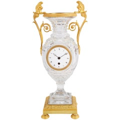 Late 19th Century Cut Glass French Urn Mantel Clock