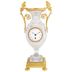 Late 19th Century Cut-Glass French Urn Mantel Clock