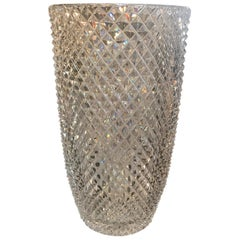 Late 19th Century Diamond Cut Crystal Vase
