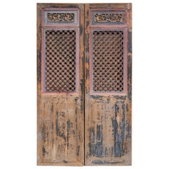 Late 19th Century Door Panels with Carvings and Lattice Patterns