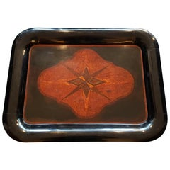 Late 19th Century Dutch Black Lacquered Serving Tray Inlaid with Various Woods