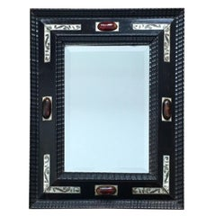 Late 19th century Dutch ebonised ripple frame style mirror