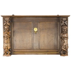 Late 19th Century Dutch Hand Carved Oak and Brass Wall Rack