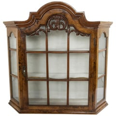 Late 19th Century Dutch Walnut Wall Cabinet or Table Top Vitrine with Glass