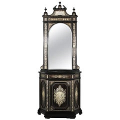 Late 19th Century Ebonized Mirrored and Inlaid Cabinet