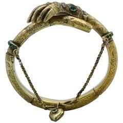 Late 19th Century Emerald, Diamond, and Gold Hand Bangle