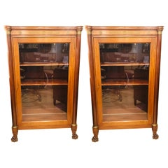Late 19th Century Empire Style Bookcase Cabinets with Bronze Mounts a Pair