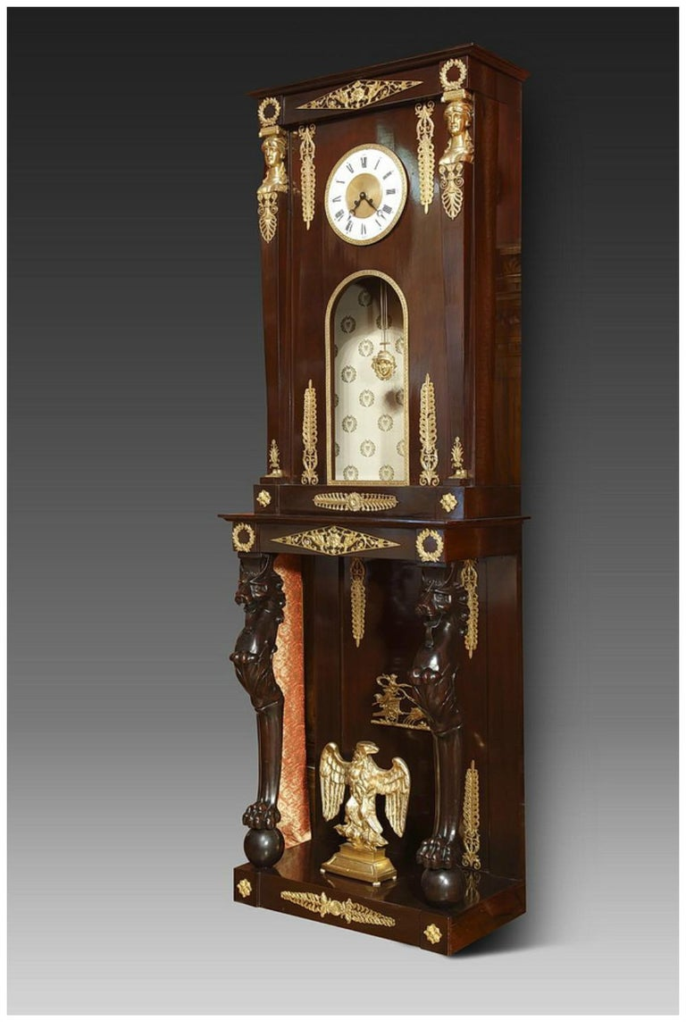 French Late 19th Century Empire-Style Longcase Clock For Sale