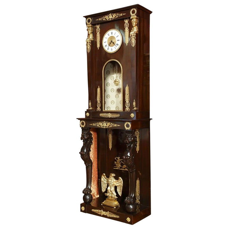 Late 19th Century Empire-Style Longcase Clock For Sale
