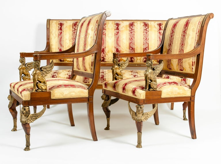 Late 19th Century Empire Style Three Gilt Bronze Mounted Salon Suite For Sale 7