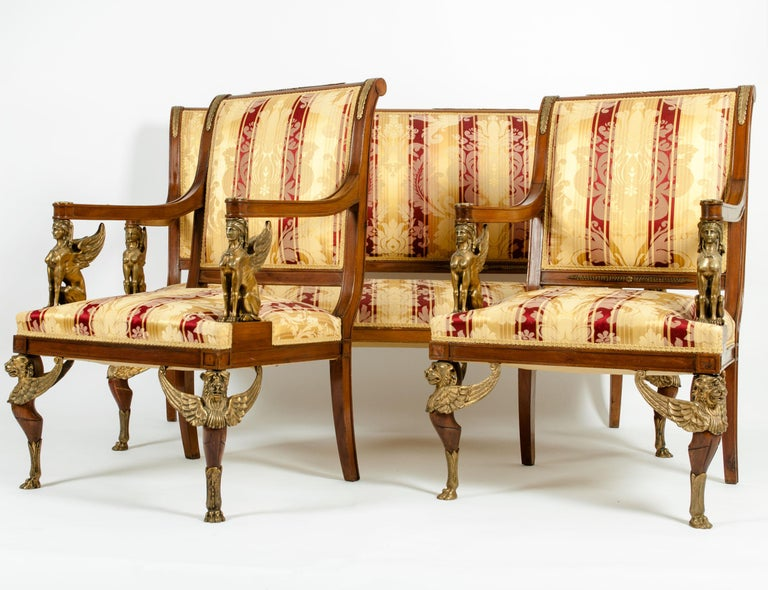 Hand-Crafted Late 19th Century Empire Style Three Gilt Bronze Mounted Salon Suite For Sale