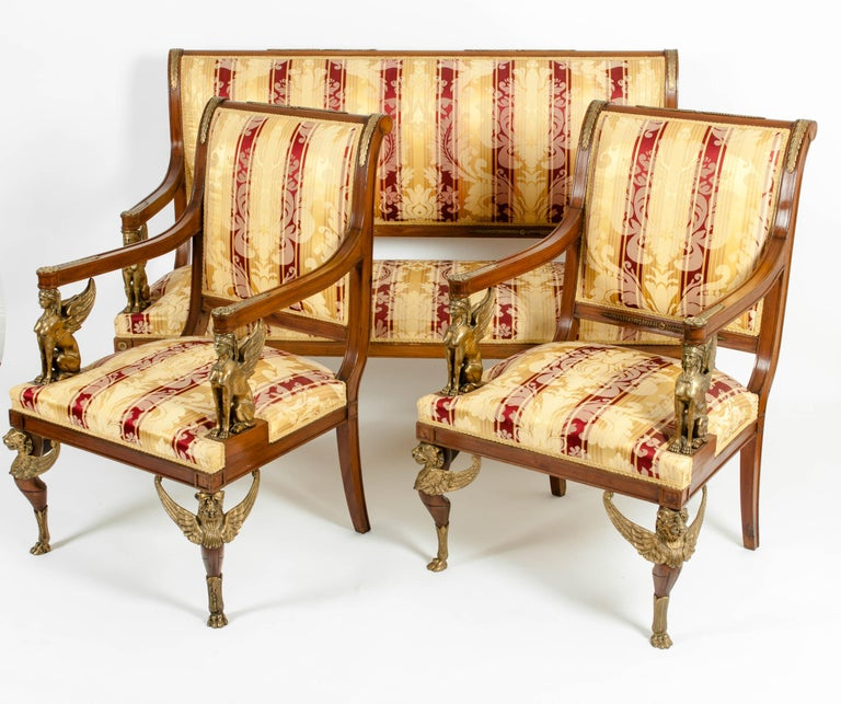 Late 19th Century Empire Style Three Gilt Bronze Mounted Salon Suite In Good Condition For Sale In Hudson, NY