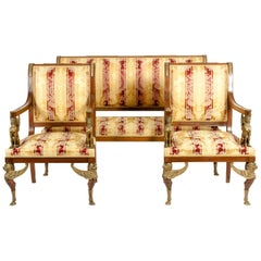 Late 19th Century Empire Style Three Gilt Bronze Mounted Salon Suite