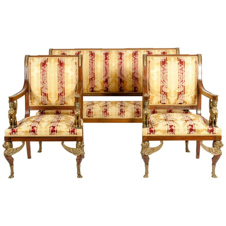 Late 19th Century Empire Style Three Gilt Bronze Mounted Salon Suite For Sale