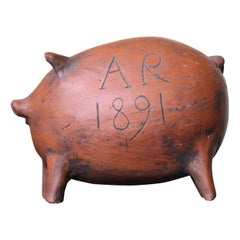 Late 19th Century English 1891 A.R Earthenware Folk Art Piggy Bank