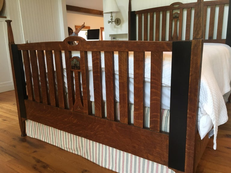 Late 19th Century English Arts & Crafts Oak Converted Queen Bed Frame 5
