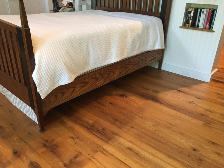 Late 19th Century English Arts & Crafts Oak Converted Queen Bed Frame 7