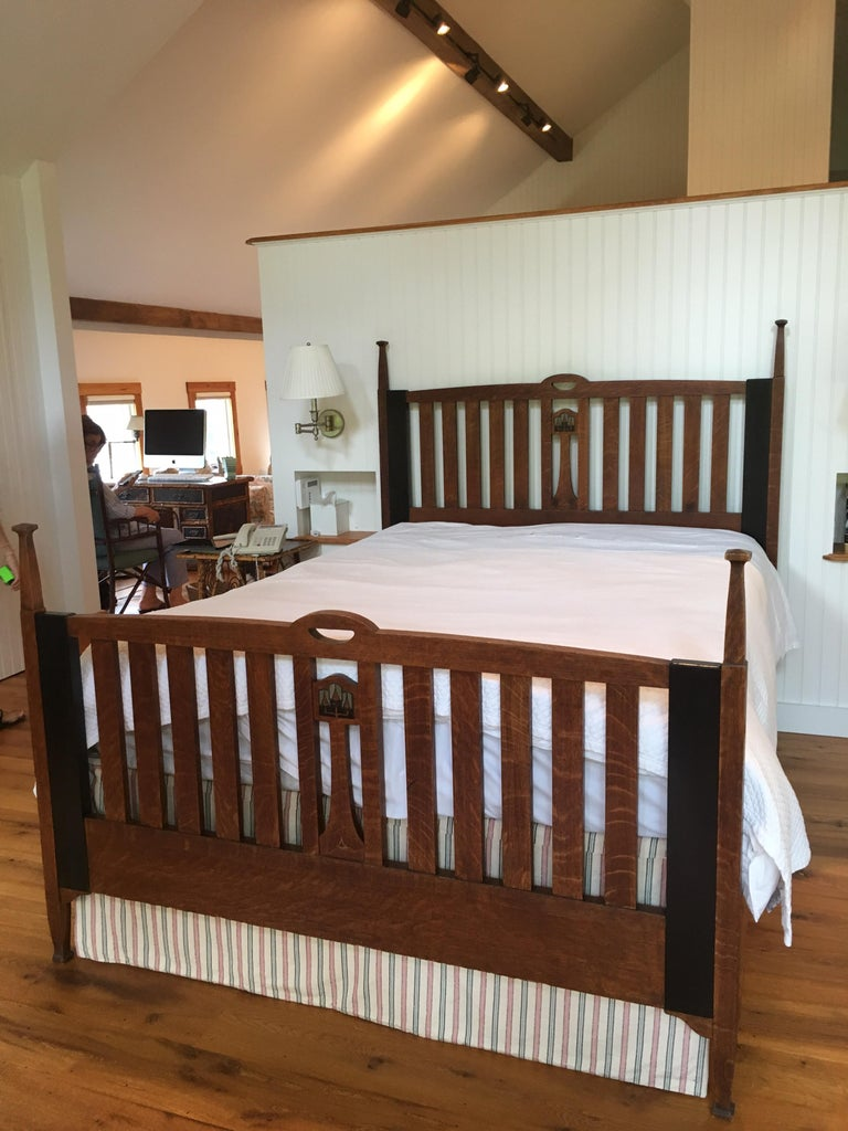 Arts and Crafts Late 19th Century English Arts & Crafts Oak Converted Queen Bed Frame