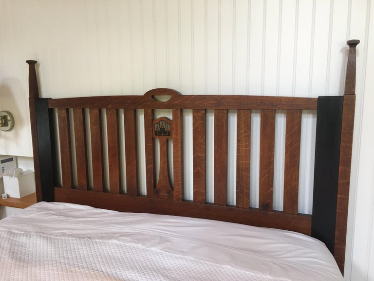 Pewter Late 19th Century English Arts & Crafts Oak Converted Queen Bed Frame