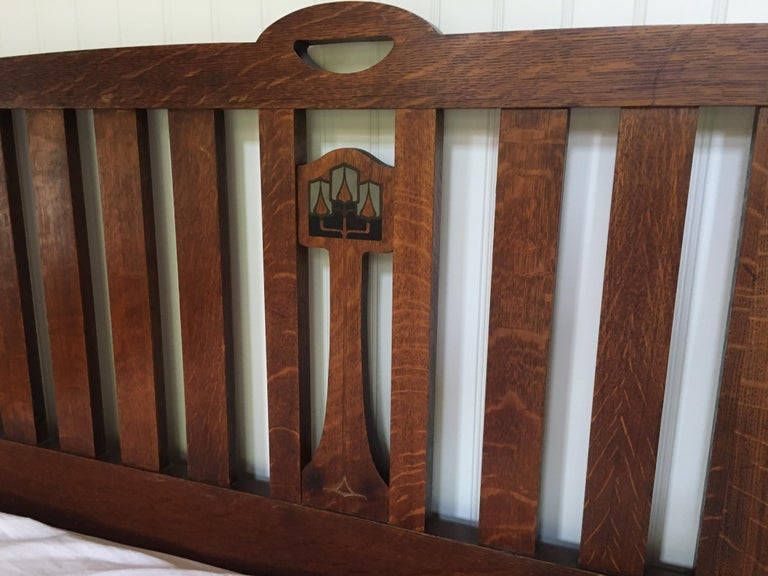 Late 19th Century English Arts & Crafts Oak Converted Queen Bed Frame 1