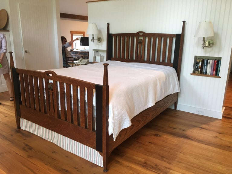 Late 19th Century English Arts & Crafts Oak Converted Queen Bed Frame 2