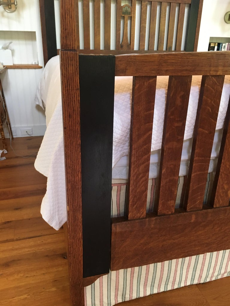 Late 19th Century English Arts & Crafts Oak Converted Queen Bed Frame 3