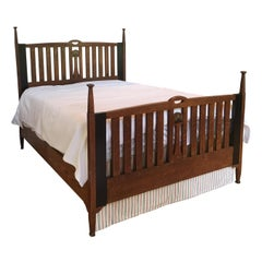 Late 19th Century English Arts & Crafts Oak Converted Queen Bed Frame