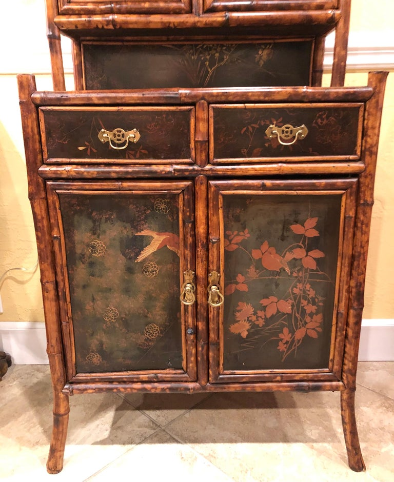 British Colonial Late 19th Century English Bamboo Lacquered 4-Door 2-Drawer Cabinet For Sale