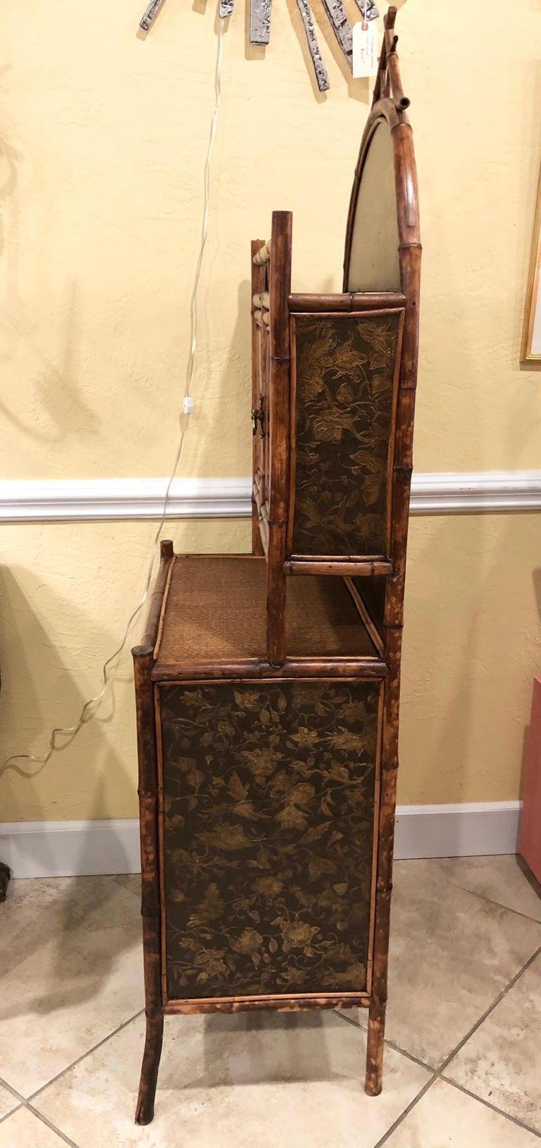 Late 19th Century English Bamboo Lacquered 4-Door 2-Drawer Cabinet For Sale 5