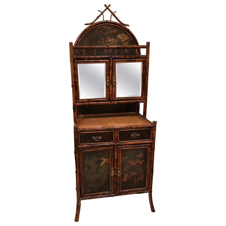 Late 19th Century English Bamboo Lacquered 4-Door 2-Drawer Cabinet For Sale