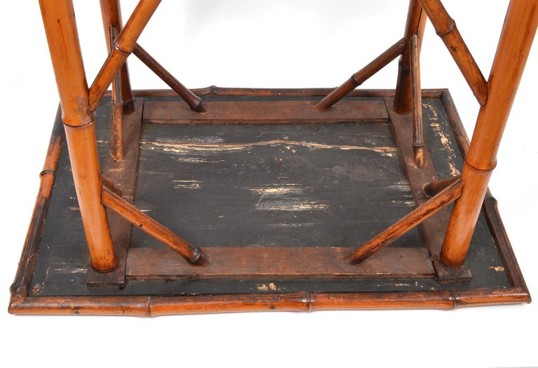 Late 19th Century English Bamboo Two-Tier Side Table with Lacquered Japanned Top For Sale 5