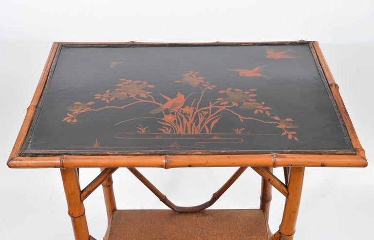 Late Victorian Late 19th Century English Bamboo Two-Tier Side Table with Lacquered Japanned Top For Sale