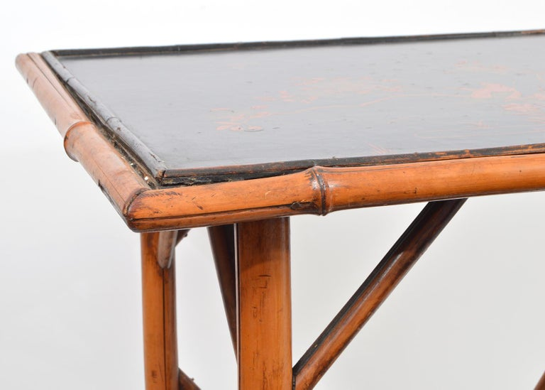 Leather Late 19th Century English Bamboo Two-Tier Side Table with Lacquered Japanned Top For Sale