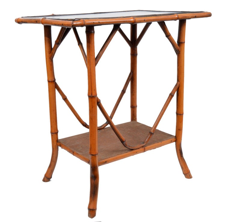 Late 19th Century English Bamboo Two-Tier Side Table with Lacquered Japanned Top For Sale 2