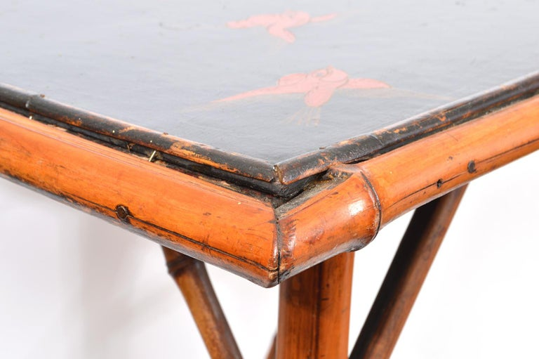 Late 19th Century English Bamboo Two-Tier Side Table with Lacquered Japanned Top For Sale 3
