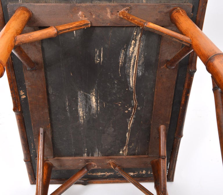 Late 19th Century English Bamboo Two-Tier Side Table with Lacquered Japanned Top For Sale 4