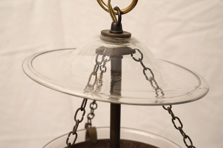 Brass Late 19th Century English Bell Jar Hall Lantern For Sale