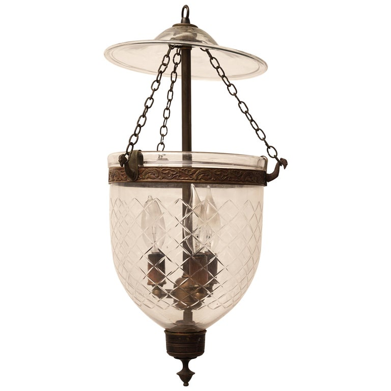 Late 19th Century English Bell Jar Hall Lantern For Sale